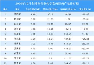 2020年1-10月全国各省市化学农药原药产量排行榜