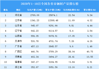 2020年1-10月全国各省市钢材产量排行榜