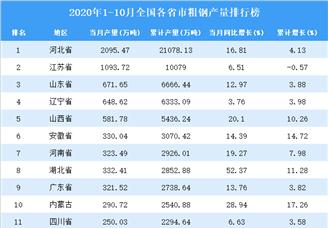 2020年1-10月全国各省市粗钢产量排行榜