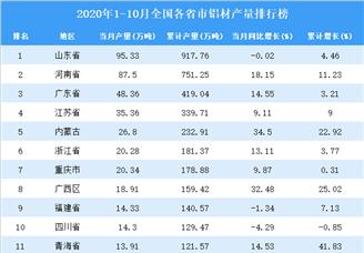2020年1-10月全国各省市铝材产量排行榜