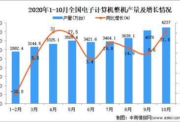2020年1-10月中国电子计算机整机产量数据统计分析