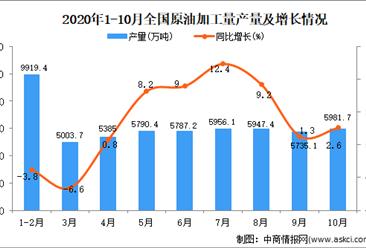2020年1-10月中国原油加工量产量数据统计分析