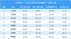 2020年1-10月全国各省市铜材产量排行榜