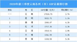 2020年前三季度云南各州(市)GDP排行榜:昆明獨領風騷(圖)