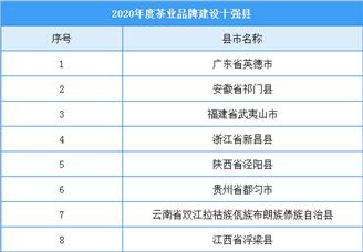 2020年度茶业品牌建设十强县名单
