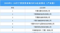 产业地产投资情报:2020年1-10月宁夏投资拿地TOP10企业排名(产业篇)