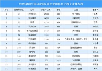 2020胡润中国500强民营企业榜杭州上榜企业排行榜(附榜单)