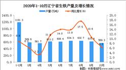 2020年10月辽宁省生铁产量数据统计分析