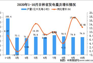 2020年10月吉林省发电量数据统计分析