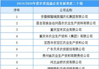 2019/2020年度农资流通企业发展速度二十强榜单