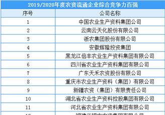 2019/2020年全国农资流通企业综合竞争力百强榜单