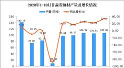 2020年10月甘肃省钢材产量数据统计分析
