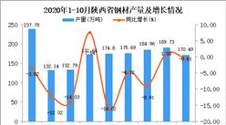 2020年10月陕西省钢材产量数据统计分析
