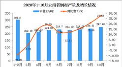 2020年10月云南省钢材产量数据统计分析