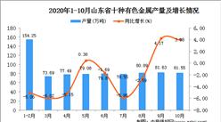 2020年10月山东省十种有色金属数据统计分析