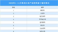 2020年1-11月黑龙江省产业投资前十城市排名(产业篇)