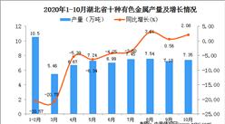 2020年10月湖北省十种有色金属产量数据统计分析
