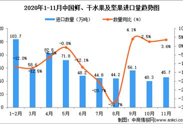 2020年11月中国鲜、干水果及坚果进口数据统计分析