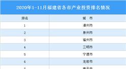 2020年1-11月福建省各市产业投资排名(产业篇)