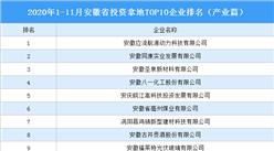 产业地产投资情报:2020年1-11月安徽省投资拿地TOP10企业排名(产业篇)