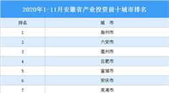 2020年1-11月安徽省产业投资前十城市排名(产业篇)