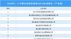 产业地产投资情报:2020年1-11月湖北省投资拿地TOP10企业排名(产业篇)