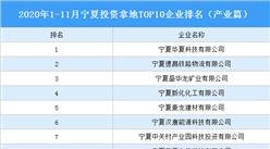 产业地产投资情报:2020年1-11月宁夏投资拿地TOP10企业排名(产业篇)