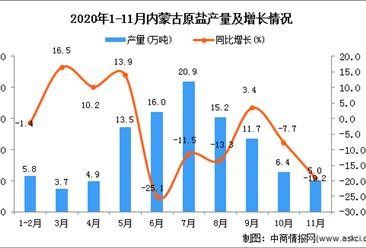 2020年11月内蒙古自治区原盐产量数据统计分析