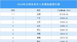 2019年全国各省市工业增加值排行榜:谁是工业大省(图)