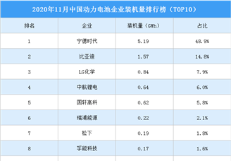 2020年11月中国动力电池企业装机量排行榜
