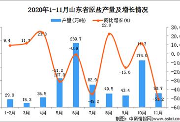 2020年11月山东省原盐产量数据统计分析
