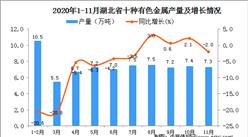 2020年11月湖北省十种有色金属产量数据统计分析