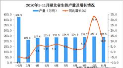 2020年11月湖北省生铁产量数据统计分析