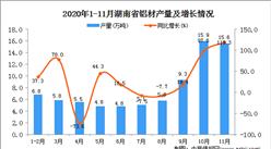 2020年11月湖南省铝材产量数据统计分析