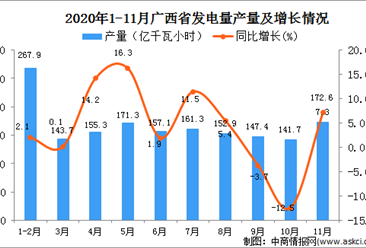 2020年11月广西壮族自治区发电量数据统计分析