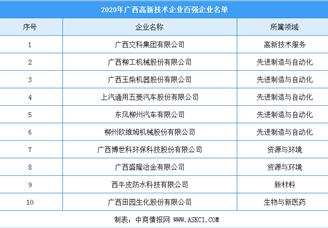 2020年广西高新技术企业百强企业排行榜(附榜单)