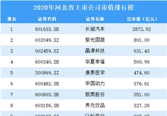 2020年河北上市公司市值排行榜(附全榜单)