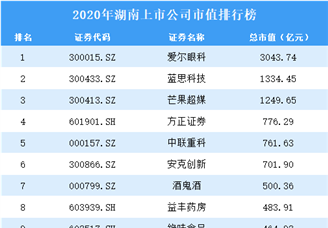 2020年湖南上市公司市值排行榜(附全榜单)