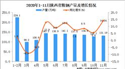 2020年11月陕西省粗钢产量数据统计分析
