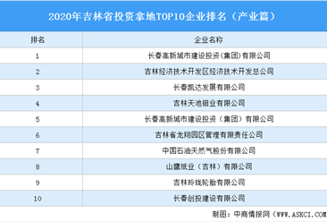 产业地产投资情报:2020年吉林省投资拿地TOP10企业排名(产业篇)