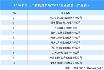 产业地产投资情报:2020年黑龙江省投资拿地TOP10企业排名(产业篇)