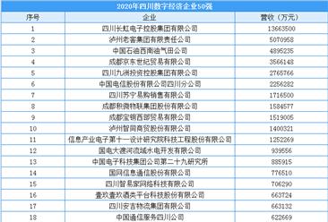 2020年四川省数字经济企业50强排行榜(附榜单)
