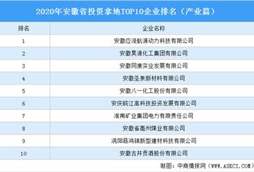 产业地产投资情报:2020年安徽省投资拿地TOP10企业排名(产业篇)