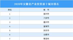 2020年安徽省产业投资前十城市排名(产业篇)