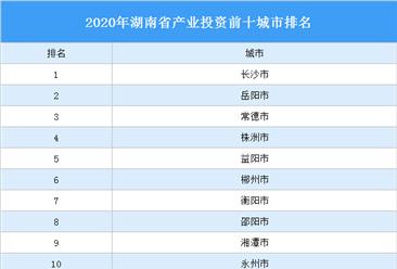 2020年湖南省产业投资前十城市排名(产业篇)