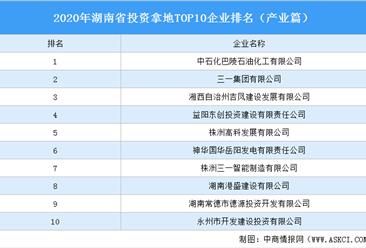 产业地产投资情报:2020年湖南省投资拿地TOP10企业排名(产业篇)