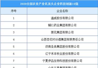 2020年全国农业产业化龙头企业科技创新10强榜单