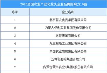 2020年全国农业产业化龙头企业品牌影响力10强排行榜