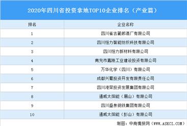 产业地产投资情报:2020年四川省投资拿地TOP10企业排名(产业篇)