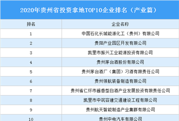 产业地产投资情报:2020年贵州省投资拿地TOP10企业排名(产业篇)